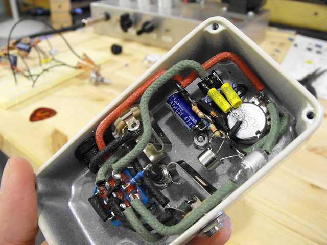 Photo:Dallas Rangemaster pedal guts (w/ parts list) By Tim Patterson