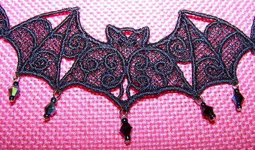 blue black bat choker detail 3-1-2011