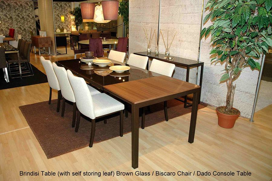 Brindisi extension table brown glass 5
