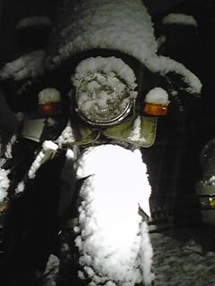 雪盛りホーネット バイク便 アサヒ風防