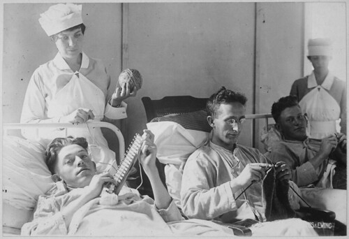 Bed-ridden wounded, knitting. Walter Reed Hospital, Washington, D.C. Harris & Ewing., ca. 1918 - ca. 1919