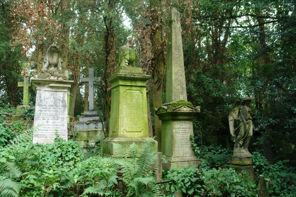 La falta de espacio obligó a hacer enterramientos muy juntos creando una tétrica atmósfera. highgate cemetery - 5517743830 1fa961b5a6 o - Highgate Cemetery de Londres, donde a la muerte se le llama arte