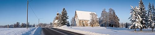 old winter snow church stone finland medieval sipoo nikkilä jokipuisto
