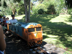 Meeting another train on the Box Hill miniature railway
