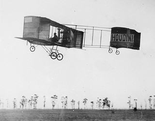 Houdini airborne in his Voisin at Diggers Rest, 1910, by Marcel Poupe