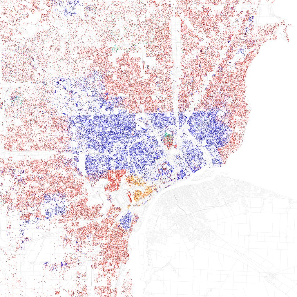 Racial segregation in Detroit 1024x1024 Red is Caucasian blue is
