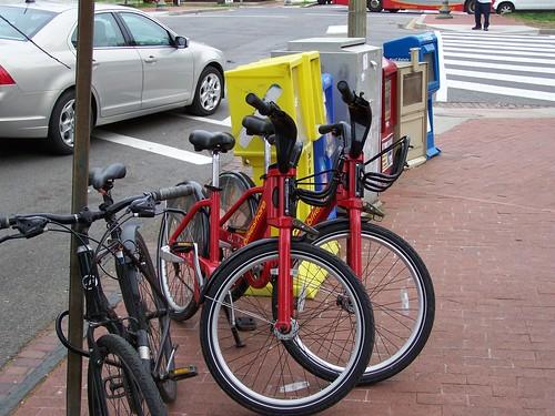 Unlocked Capital Bikeshare bikes, 3rd and Pennsylvania Avenue SE