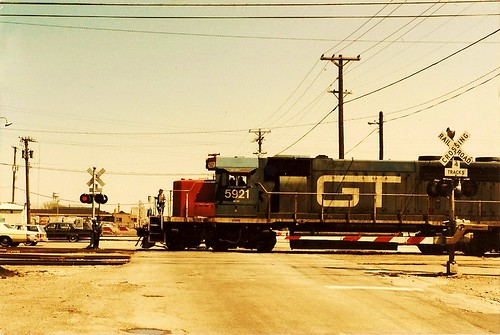 Grand Trunk Western train crossing West 51st Street. Chicago Illinois USA. April 1984. by Eddie from Chicago