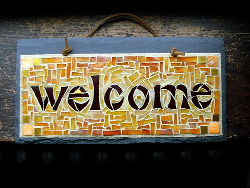 Welcome Sign Mosaic in Warm Tones