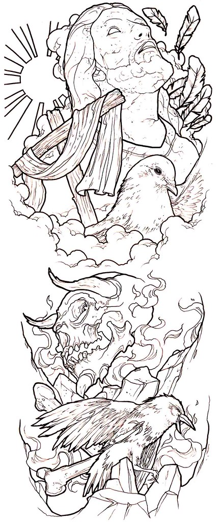 Line Drawing Tattoo Sleeve : Good evil conflict tattoo sleeve idea a photo on