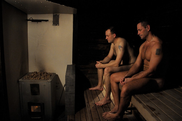 Men in the sauna, naked.
