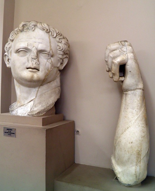 Parts of the colossal statue of emperor Domitian (81 - 96 AD), Ephesus Museum, Selçuk, Turkey