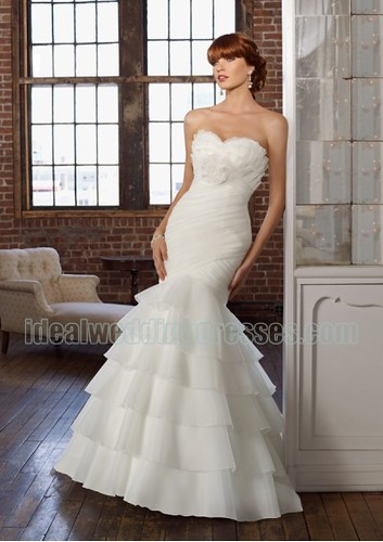 Organza Strapless Sweetheart Neckline with Rouched Bodice and Ruffles Layers Skirt 2011 White Mermaid Wedding Dresses WL-0123