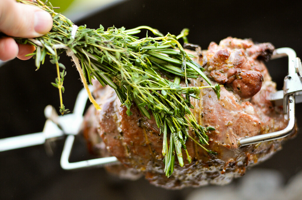 Rotisserie Boneless Leg Of Lamb With Lemon, Rosemary, & Garlic
