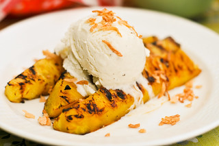 Rum-Glazed Pineapple with Toasted Coconut and Vanilla Ice Cream