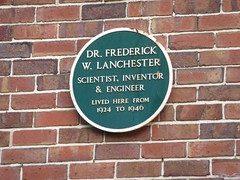 Photo of Frederick Lanchester green plaque