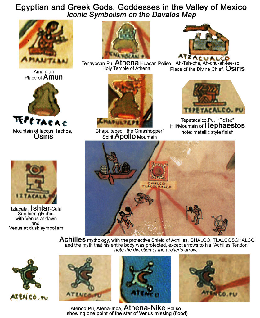 greek, egyptian gods and goddesses, davalos map, valley of mexico