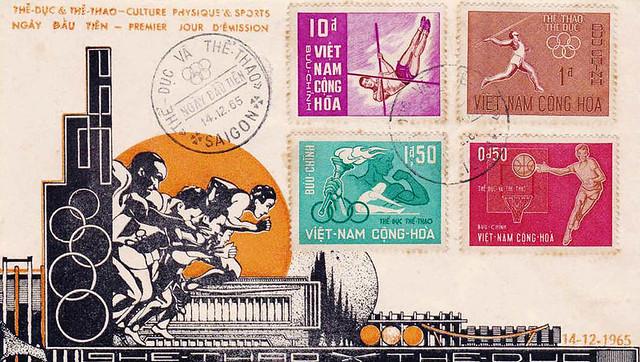 INDOCHINE SAIGON ENVELOPPE 1ER JOUR SPORTS 14 12 1965