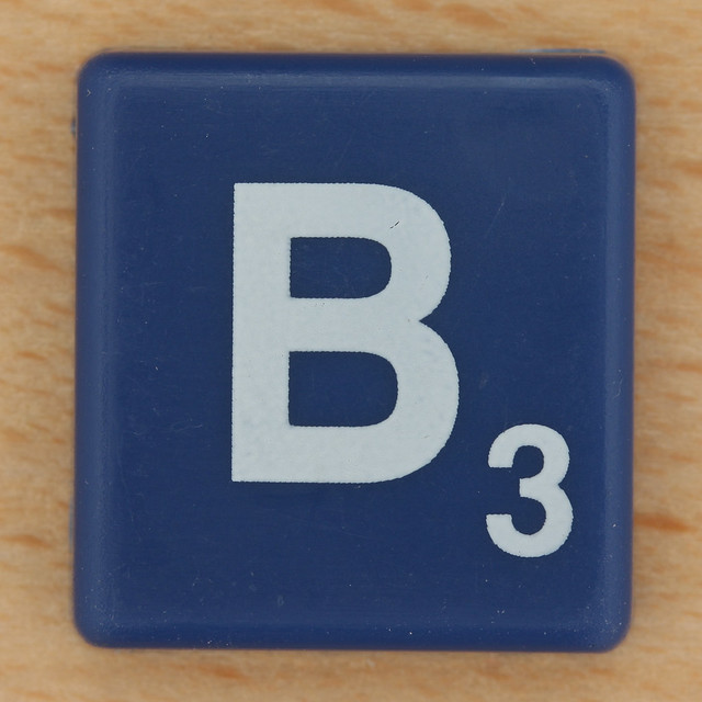 Scrabble White Letter on Blue B