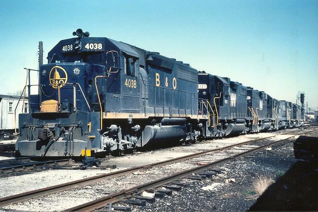 B&O0007 B&O GP40 No. 4038 at Memphis, TN, April 1976