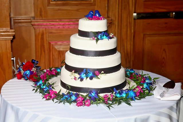 Navy Blue and Fuschia Wedding Cake Jen and Herman 39s Wedding Cake