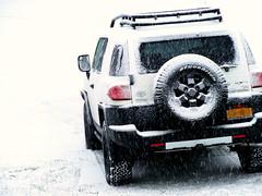 jeep wrangler(0.0), jeep(0.0), city car(0.0), automobile(1.0), automotive exterior(1.0), sport utility vehicle(1.0), mini sport utility vehicle(1.0), wheel(1.0), vehicle(1.0), toyota fj cruiser(1.0), compact sport utility vehicle(1.0), rim(1.0), off-roading(1.0), off-road vehicle(1.0), bumper(1.0), land vehicle(1.0),