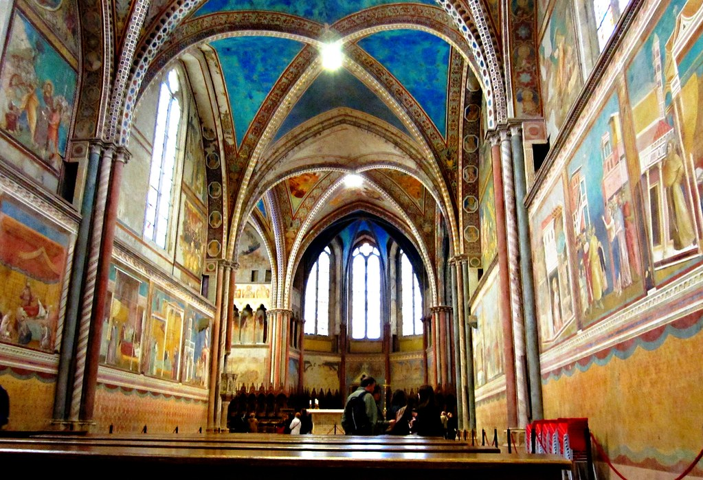 View of Frescoes and vaulted ceilings of Basilica of St Francesco di Assisi