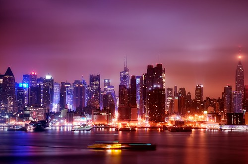 city nyc newyorkcity longexposure ny newyork reflection skyline geotagged dawn newjersey cityscape timessquare esb bankofamerica tugboat hudsonriver empirestatebuilding gothamist tug chryslerbuilding barge hdr hoboken newyorktimes barclay weehawken lighttrail unionhill mudpig stevekelley