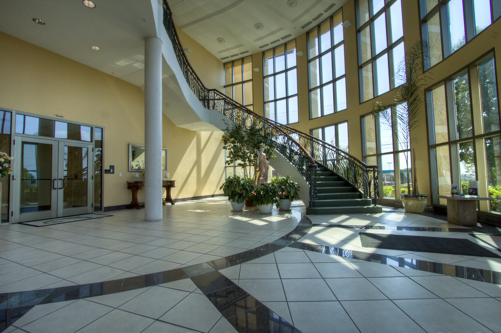 Two-story atrium lobby
