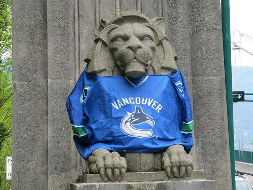 No Way Jose: Vancouver Canucks Jerseys on Stone Lions at Lions Gate Bridge in Vancouver