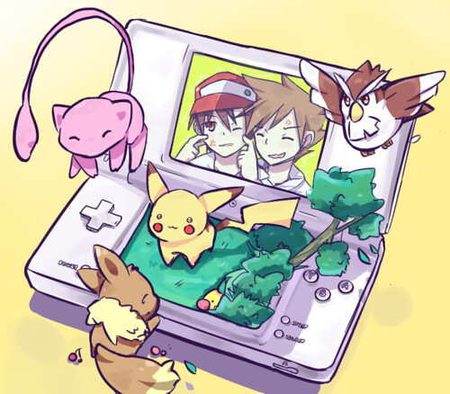Pokemon__DSi_v_Red_Green_by_Shunpuu