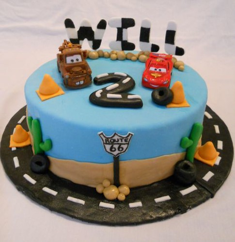 The Lightning Mcqueen And Mater Are From Cars 2 Movie Cake