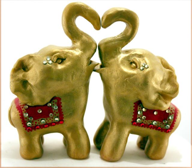 Decorated Indian Elephant Wedding Cake Topper