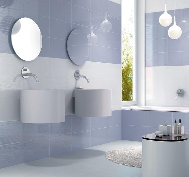 Carrelage salle de bain cristal muguet bleuet novoceram - Peindre du carrelage salle de bain ...