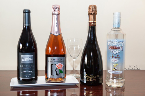 Sterling Vineyards Carneros Pinot Noir, Rose Blum Moscato Rose, Stellina di Notte Prosecco, and Smirnoff Light Sorbet