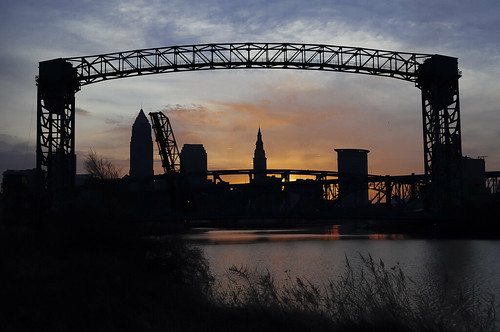 bridge skyline sunrise river downtown cleveland whiskeyisland
