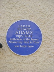 Photo of Sarah Fuller Flower Adams blue plaque