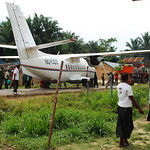 Cargo plane on the runway in Walikale