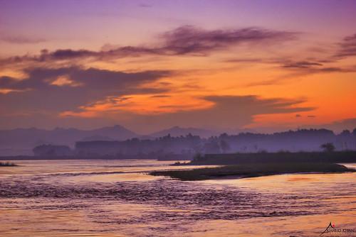 sunset orange sun nature water clouds sunrise river island purple horizon hdr