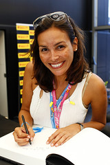Ines Sastre siging autographs at Spanish Grand Prix