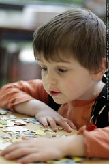 starting a jigsaw puzzle @ the library