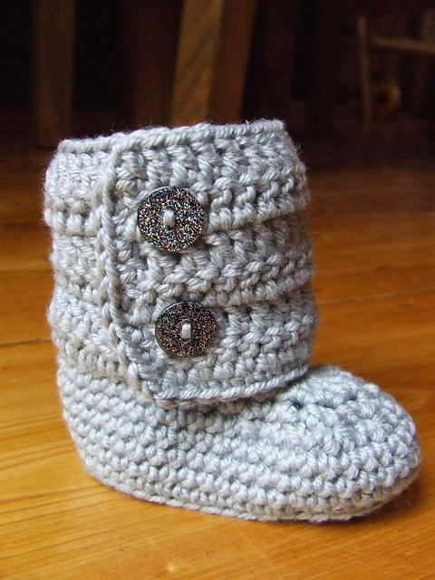 Free Crochet Pattern Baby Ugg Booties : Baby ugg-style crochet booties Flickr - Photo Sharing!