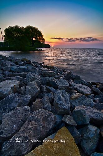 sky lake color tree water wisconsin clouds sunrise nikon rocks shore hdr oshkosh d7000