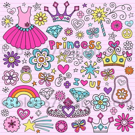 Cute Princess Notebook Doodle Design Elements Illustration By Blue67design Flickr Photo Sharing