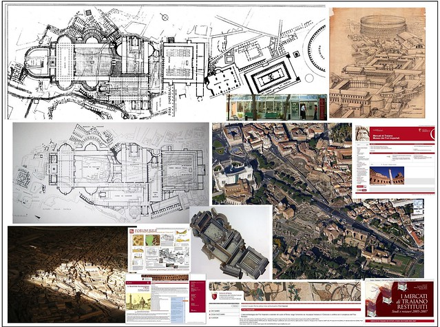 Rome, The Imperial Fora, the Markets of Trajan, the Museum of the Imperial Fora (2007-2011): Bird's eye-view (2010-11), & the Imperial Fora &  Markets of Trajan / new topographical plan ca. 2009, etc.