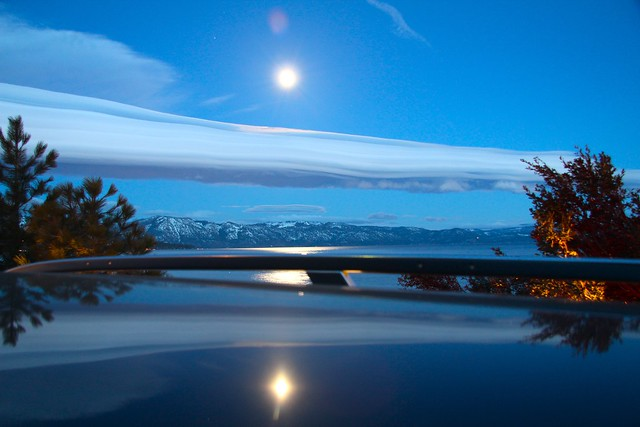 Full Moon Over Lake Tahoe | and the reflection on the roof ...