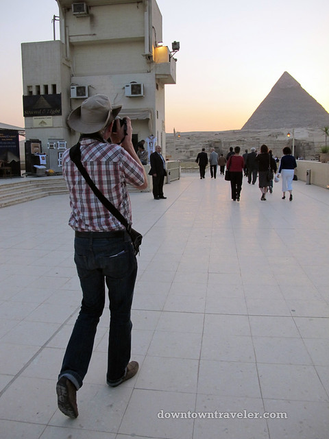 A European cowboy at the Giza pyramids