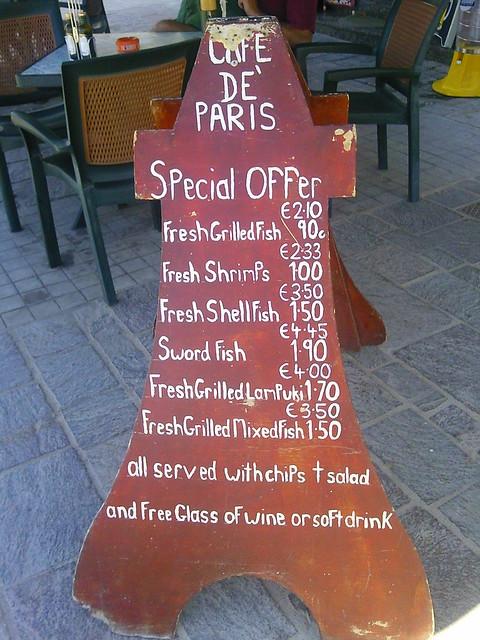 Cafe de Paris in Marsaxlokk, Malta