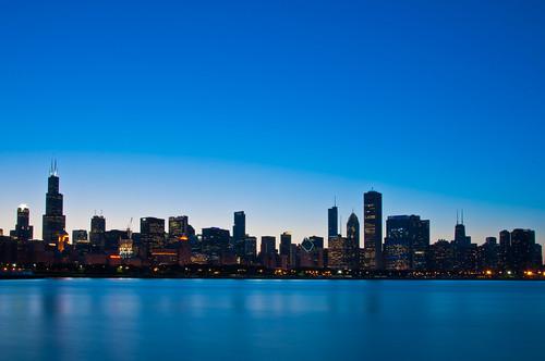 longexposure blue chicago skyline twilight nikon bluehour banias d90 benchorizo