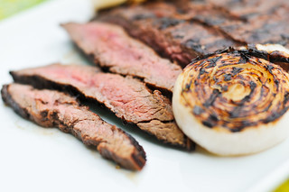 Mojo Marinated Flank Steak with Grilled Onions